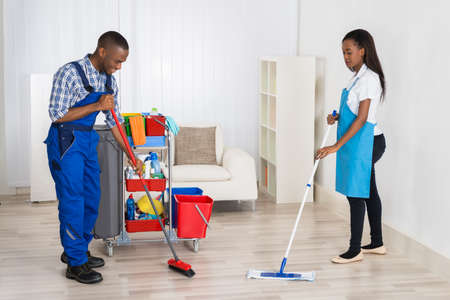 black lady: Photo Of Two Professional Janitors Cleaning Apartment