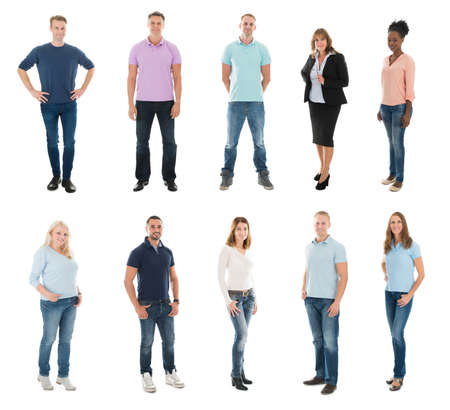 white people: Set Of Happy Creative People Standing With Manager Against White Background Stock Photo