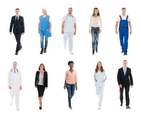 Collage van mensen met verschillende beroepen lopen tegen een witte achtergrond Stockfoto