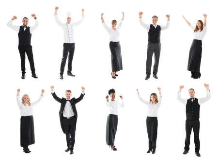 restaurant staff: Collage Of Happy Restaurant Staff Raising Arms Against White Background Stock Photo
