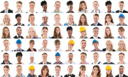 Collage Van Glimlachende mensen met verschillende Profession Over Witte Achtergrond