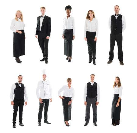 restaurant staff: Set Of Restaurant Staff Standing Against White Background Stock Photo