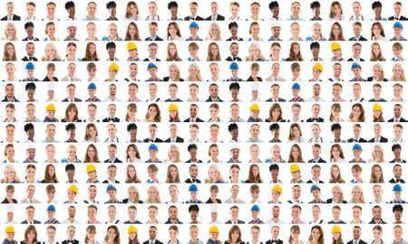 Collage mensen uit verschillende beroepen tegen witte achtergrond glimlacht
