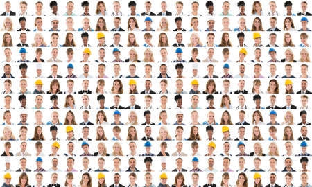 Collage Of People From Different Occupations Smiling Against White Background Stock Photo