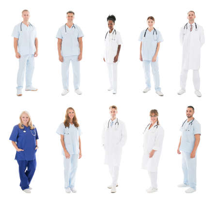 medical doctors: Set Of Doctors With Medical Workers Standing Against White Background