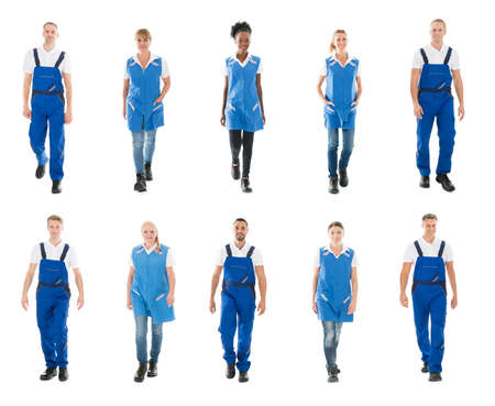 Cleaning team: Collage Of Happy Male And Female Janitors Walking Over White Background