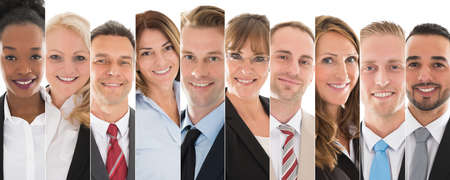 professional people: Set Of Happy Male And Female Businesspeople Stock Photo