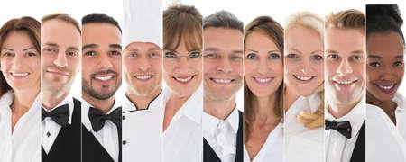 행복한 남성과 여성 레스토랑 직원의 집합