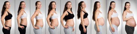Glückliche Frau mit den verschiedenen Stadien der Schwangerschaft über grauem Hintergrund
