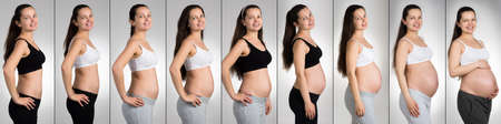 Happy Woman With Different Stages Of Pregnancy Over Gray Background