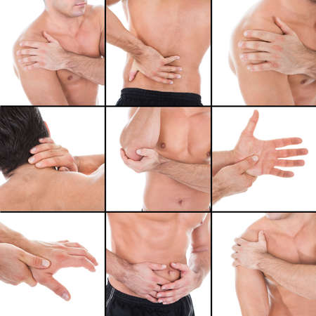 Set Of A Man Showing Ache At Several Parts Of Body Against White Background