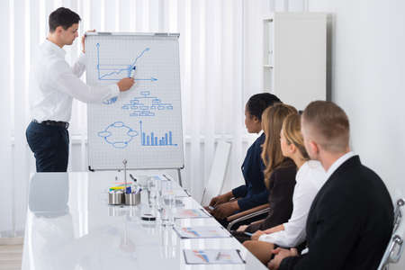 Group Of Businesspeople Looking At Young Businessman Giving Presentation In Meeting Stock Photo