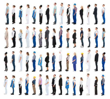 line people: Collage Of People With Various Profession Standing In Line Against White Background