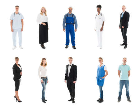 occupations: Collage Of Happy People With Various Occupations Standing Against White Background