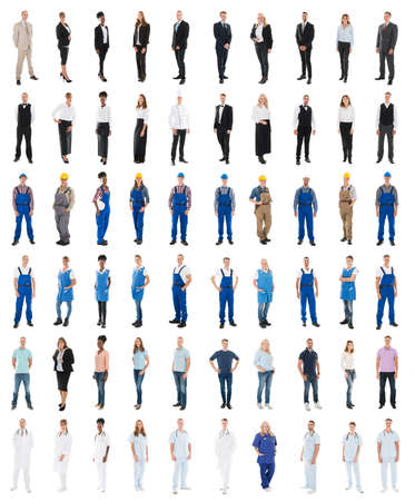 Set Of People With Various Occupations Standing Against White Background Stock Photo