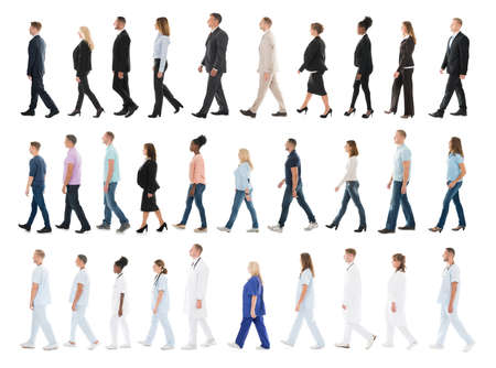 to queue: Collage Of People From Different Occupations Walking In Line Against White Background