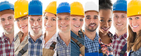 happy workers: Set Of Happy Male And Female Construction Workers