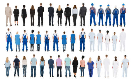 workers group: Rear View Of People With Different Occupations Standing In Row Against White Background