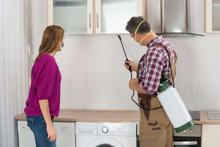 Woman Looking At Male Worker Spraying Insecticide Under Cabinet In Kitchen