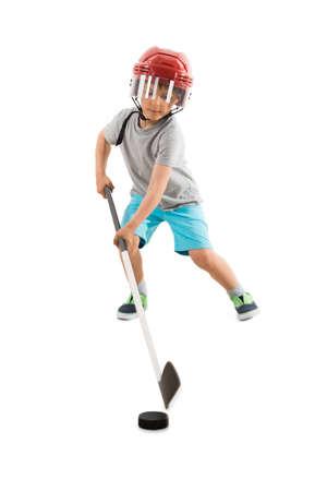 Boy Playing Ice Hockey Over White Background Stock fotó