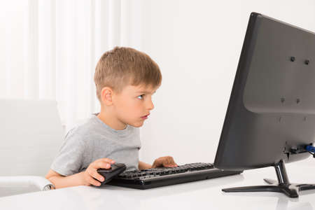 using computer: Photo Of Little Boy Using Computer At Home