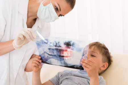 roentgenogram: Young Female Doctor Showing Teeth Xray To Child Patient In Clinic