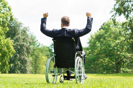 handicap: Rear View Of Young Disabled Man On Wheelchair With Arm Raised In Park