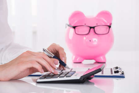 Person Calculating Bill With Pink Piggybank On Desk Stock Photo