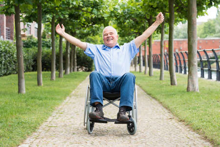 happy senior: Happy Senior Man On Wheelchair With Arm Raised Stock Photo