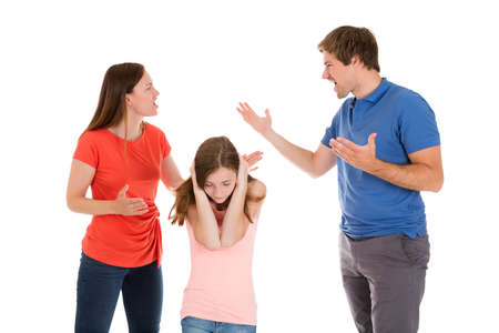 Girl Covering Her Ears While Parent Quarreling On White Background