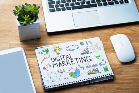 digital marketing: Digital Marketing SEO Plan Stock Photo