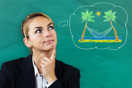thinking woman: Woman Thinking About Vacation