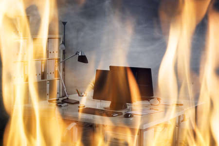 Office Fire Burning