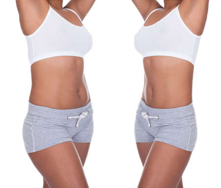 흰색 배경에 체중 감량 전후에 여자의 몸의 근접