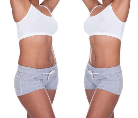 Primer plano del cuerpo de la mujer antes y después de la pérdida de peso sobre un fondo blanco