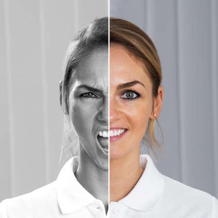 enojo: Dos Caras lateral de la joven mostrando la felicidad y emoción a la vez