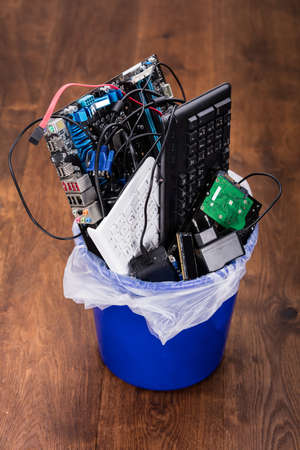 junked: Close-up Of Damaged Hardware Equipment In Dustbin