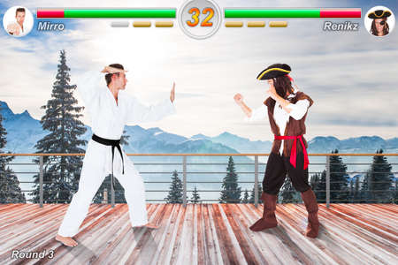 Close-up Of Fighting Game On Screen With Score On Top Of It