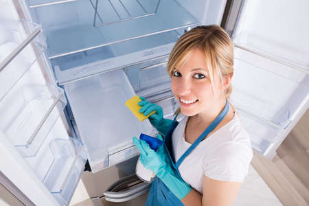 refrigerator: High Angle View Of Young Woman Cleaning Empty Refrigerator