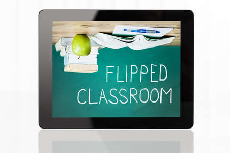 flipped: Close-Up of Flipped Classroom Concept On Digital Tablet At White Background Stock Photo