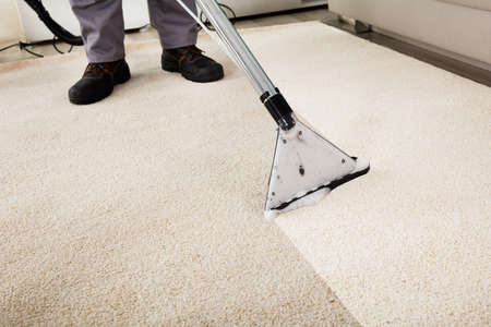 carpet flooring: Close-up Of A Person Cleaning Carpet With Vacuum Cleaner