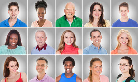 Collage Of Smiling Casual People Group With Different Ethnicity On Gray Background