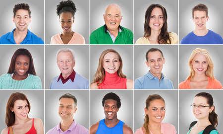 Collage Von Lächeln Lässige Gruppe mit unterschiedlicher ethnischer Zugehörigkeit auf grauem Hintergrund