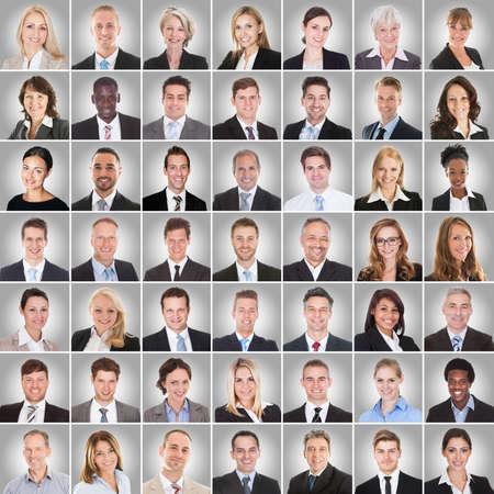 Collage Van Glimlachende Multi-etnische groep van mensen uit het bedrijfsleven Op Grijze Achtergrond Stockfoto