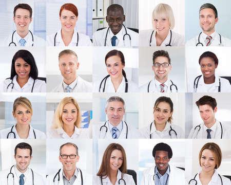 다른 다민족와 의사의 그룹 미소의 콜라주