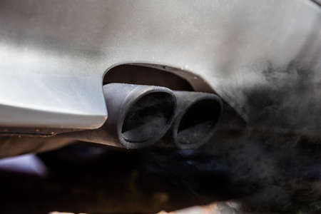 black car: Close-up Of Two Exhaust Pipe On The Car Stock Photo