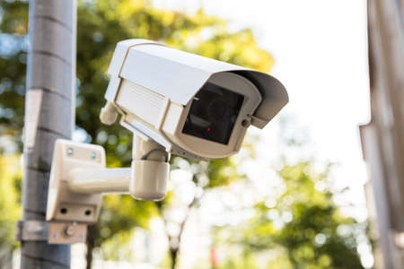 Close-up Of Security Camera On The Street Stock Photo