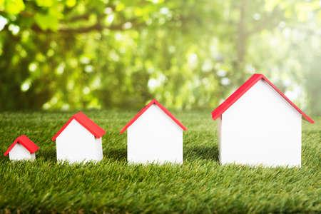 芝生のフィールドに並んで家の異なるサイズ