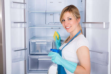 refrigerator: Young Smiling Woman Cleaning Empty Refrigerator In Kitchen