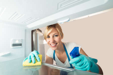 Close-up Of Young Smiling Woman Cleaning Inside The Refrigerator